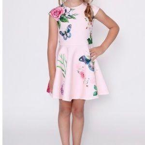Hannah Banana Pink Butterfly Print Dress Size 4T
